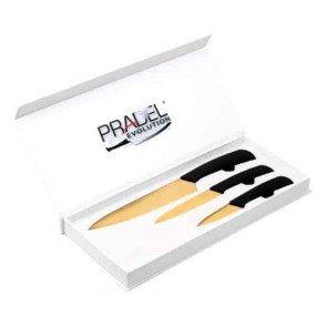 Coffret couteaux - 3 pcs - noir- revêtement titane doré  - Pradel Evolution