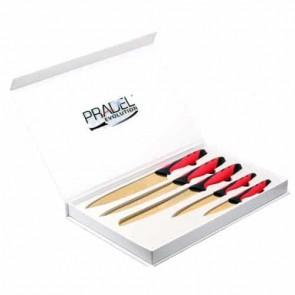 Coffret couteaux - 5 pcs - rouge et noir - revêtement titane doré - Pradel Evolution