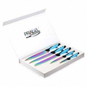 Coffret Couteaux - 5 pcs - revêtement titane multicolore - bleu et noir - Pradel Evolution