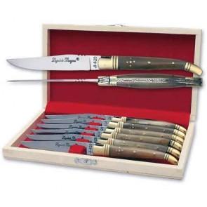Coffret de 6 couteaux de table Laguiole Bougna - Matière du manche : Corne blonde - Matière de la lame : Acier 420