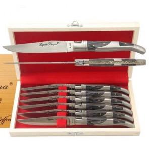 Coffret de 6 couteaux Laguiole Bougna - Matière du manche : Bois coloré Noir - Matière de la lame : Acier 420